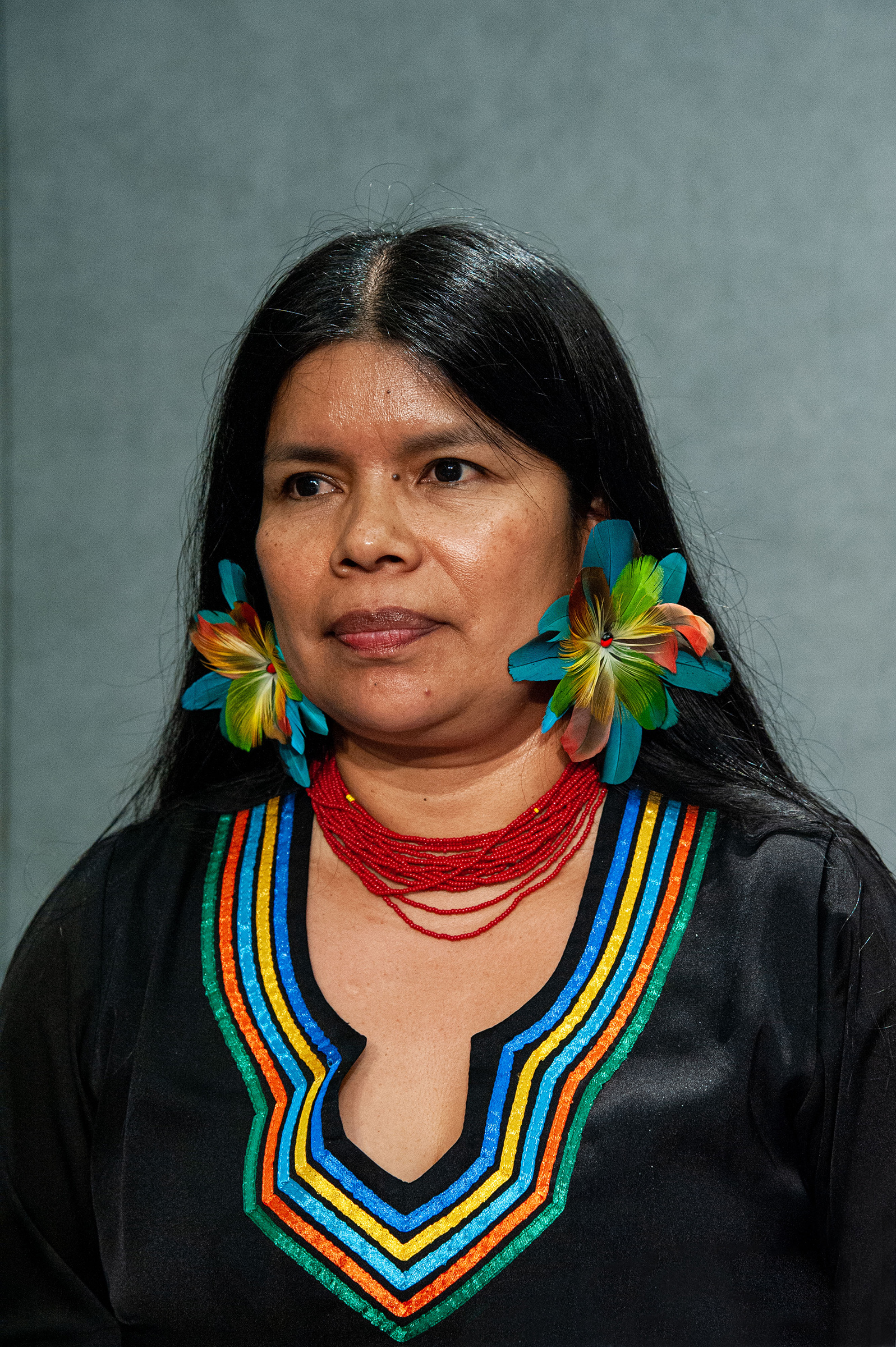 Patricia Gualinga, Indigenous Leader in the Defense of Human Rights of the Kichwa Communities of Sarayaku (Ecuador) speaks at the Press Office of the Holy See in the Vatican on Oct 17, 2019.