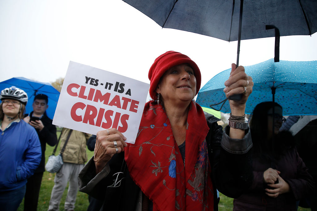 Climate-change protestors demanding fast action for a  Green New Deal, near the US Capitol in Washington, D.C., on Nov. 22, 2019.