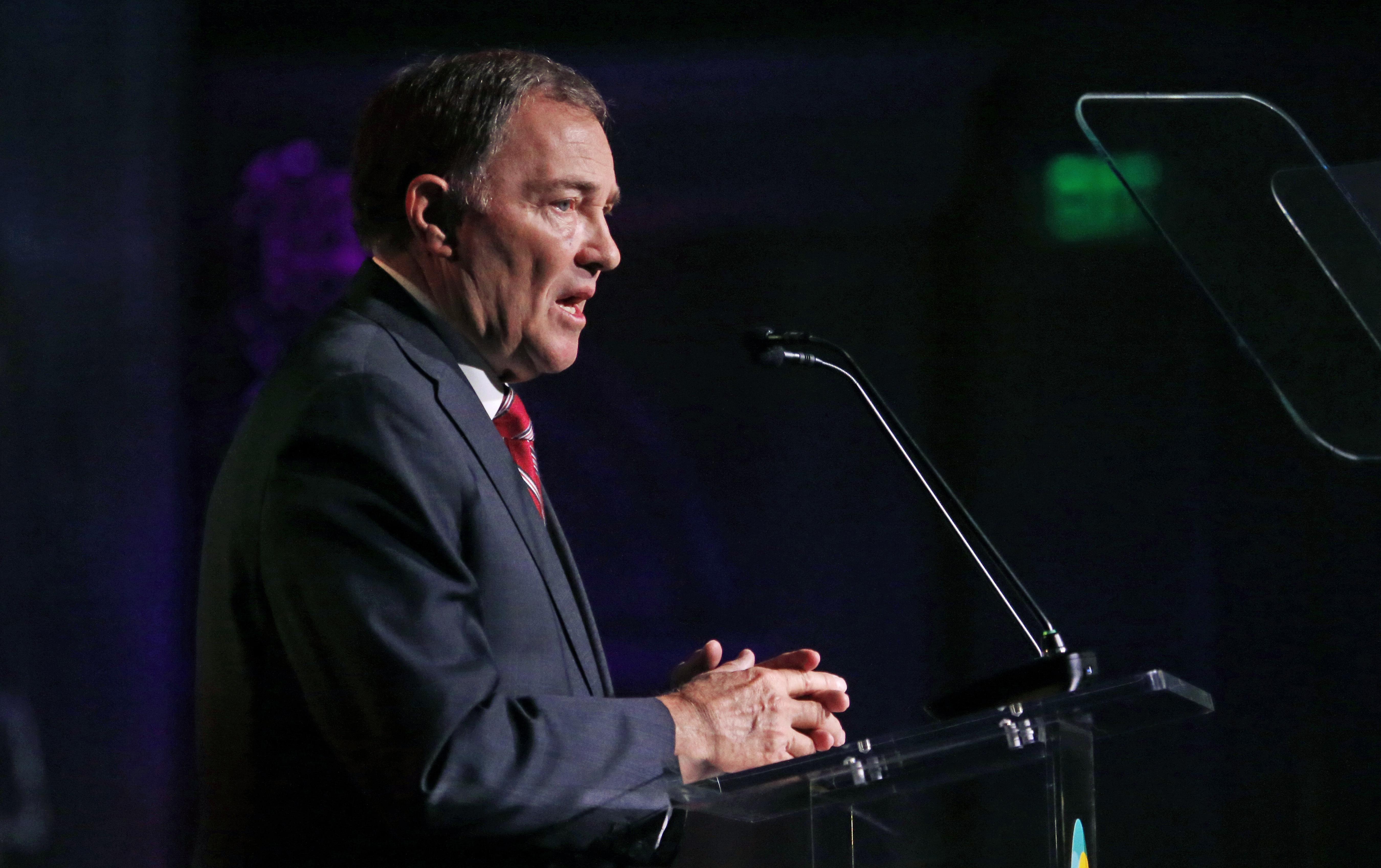 Utah Gov. Gary Herbert speaks during a conference in Salt Lake City.