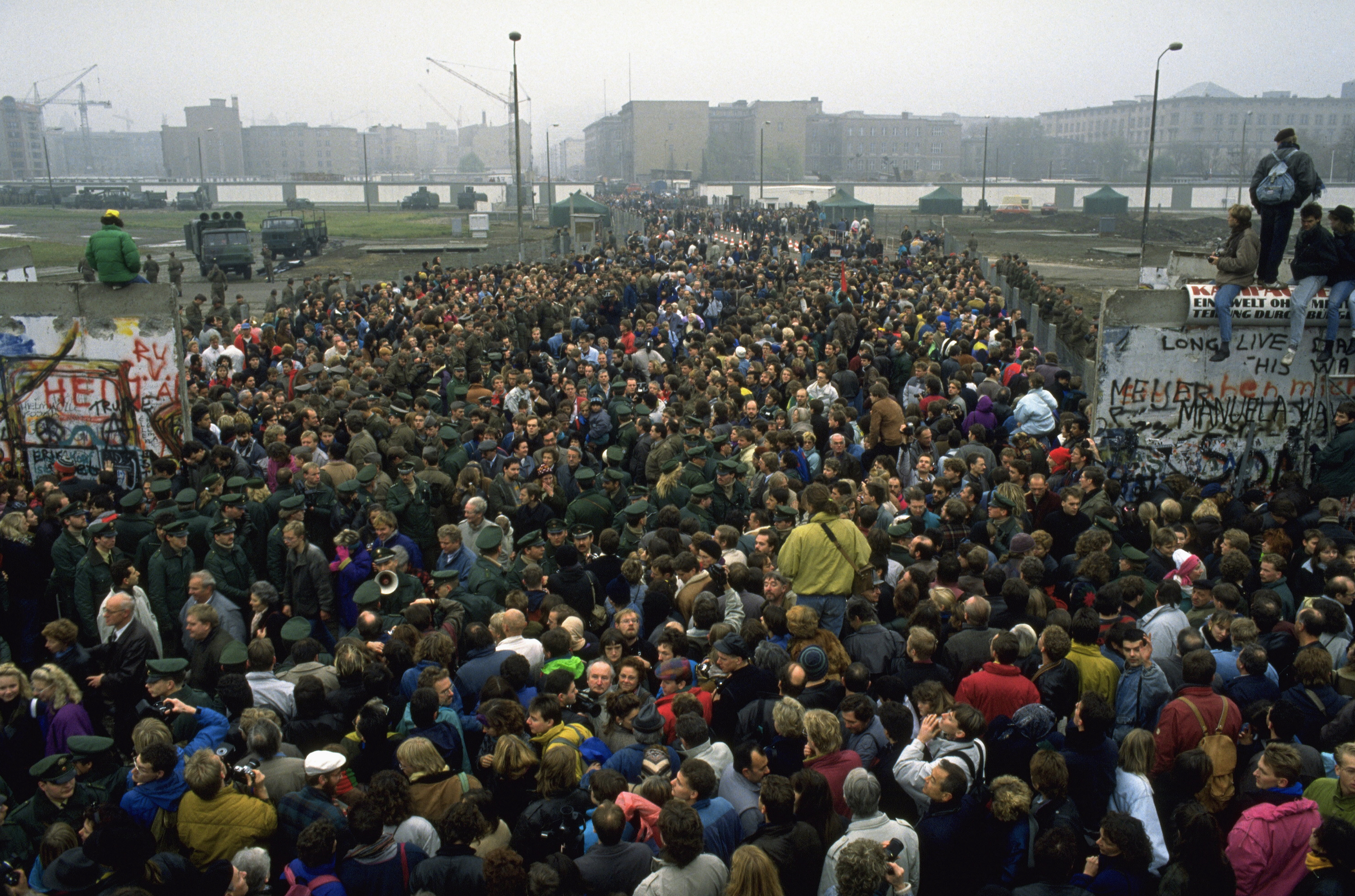 A crowd at the Berlin Wall on Nov. 12, 1989