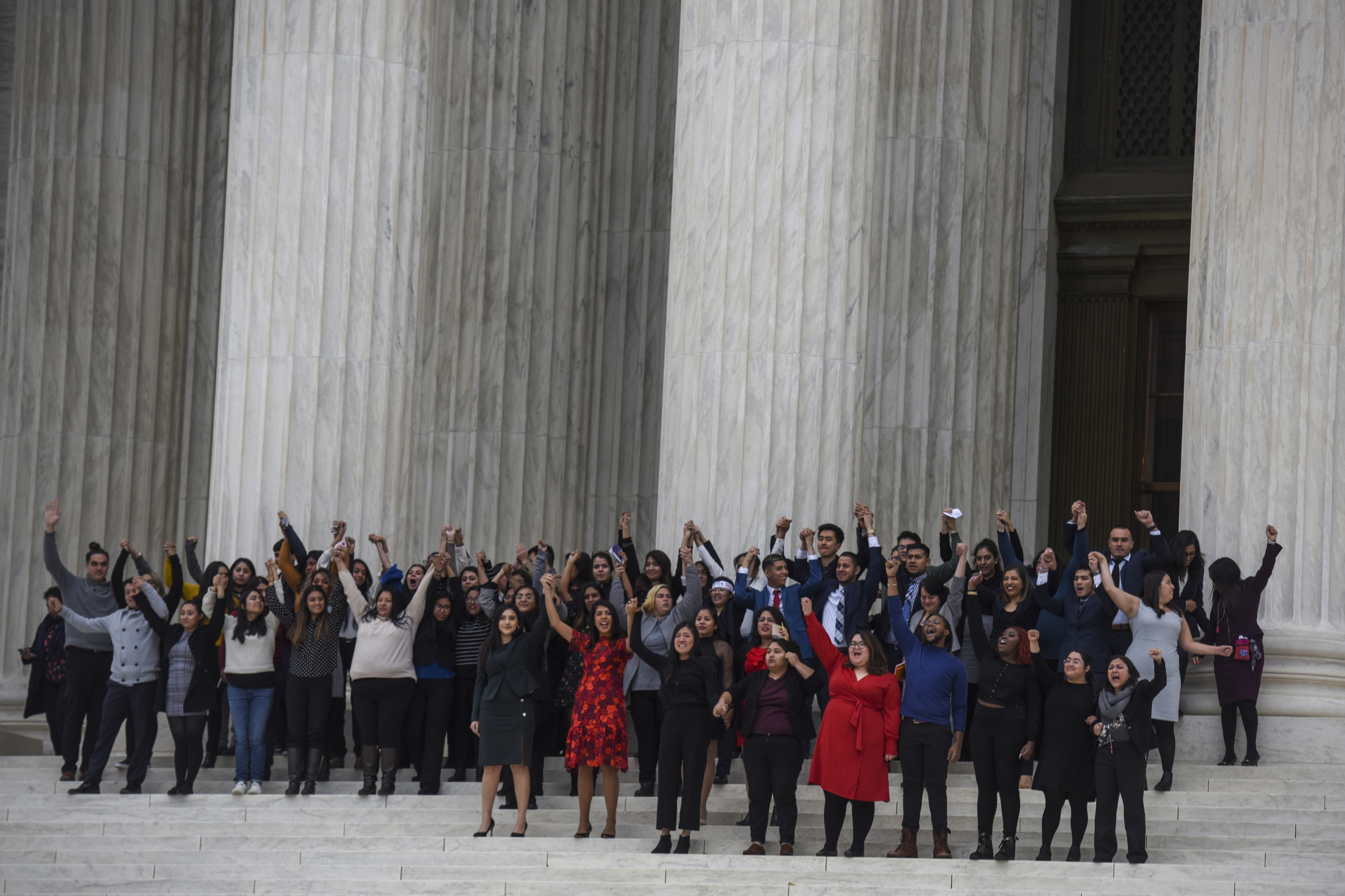 DACA plaintiffs leave the United States Supreme Court, where the Court is hearing arguments on Deferred Action for Childhood Arrivals that could impact the fates of nearly 700,000 young immigrants.  on Nov. 12, 2019, in Washington, D.C.