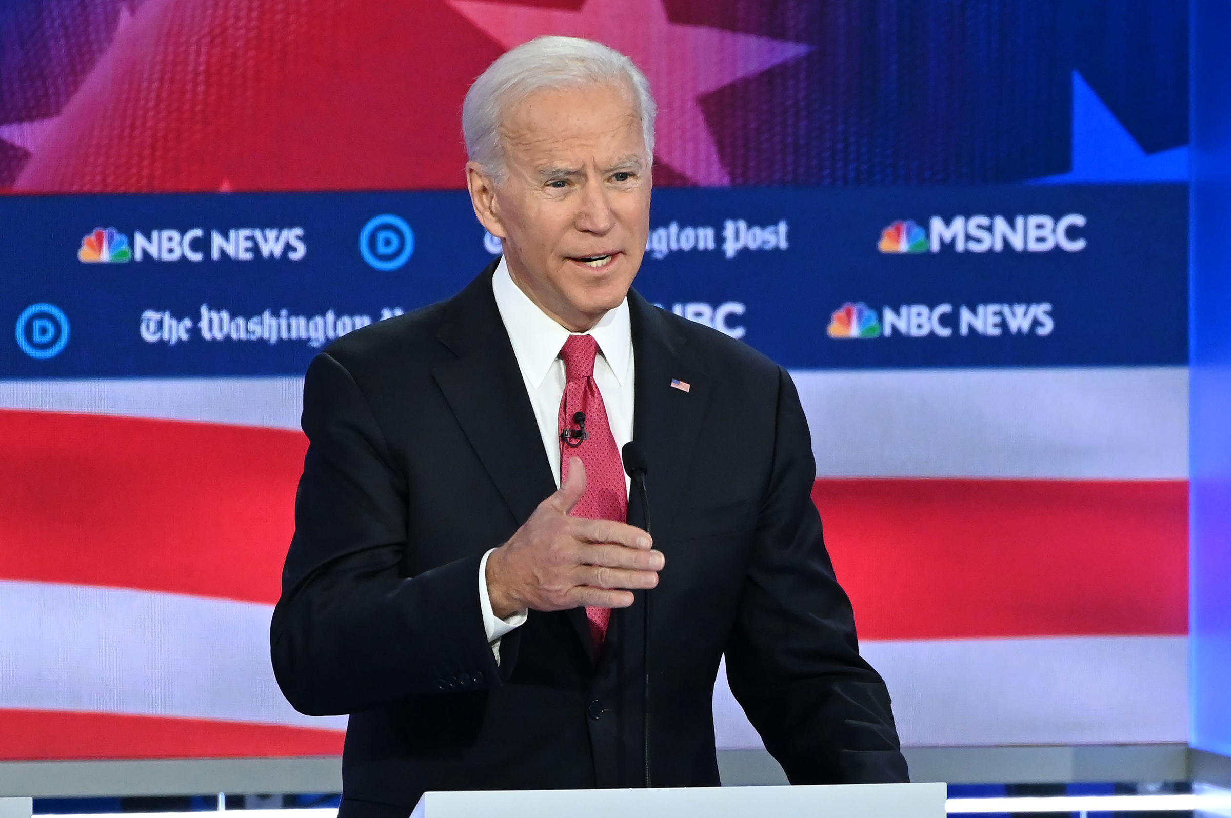 Democratic presidential hopeful former Vice President Joe Biden speaks during the fifth Democratic primary debate of the 2020 presidential campaign season in Atlanta on Nov. 20, 2019.