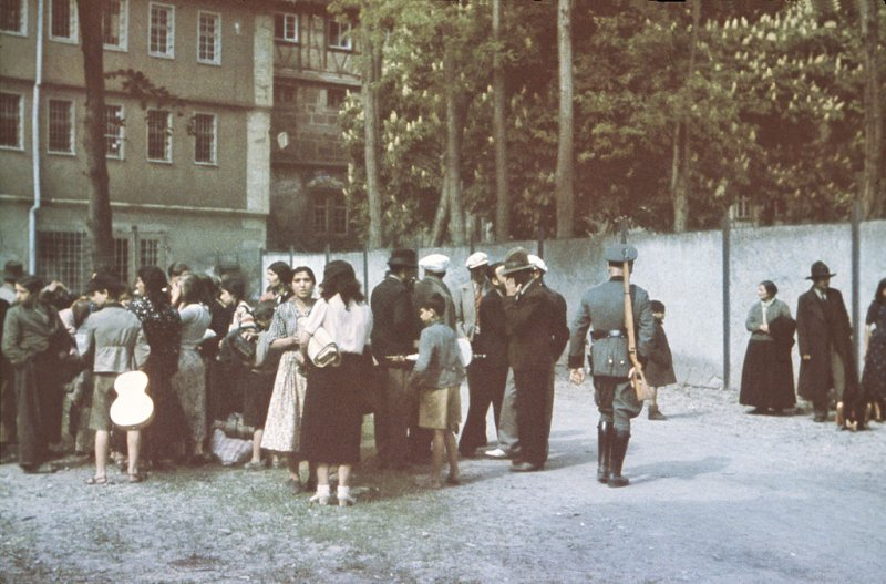 Sinti and Roma in the courtyard of Hohenasperg prison, Germany, prior to deportation to a camp in Poland on May 22, 1940.