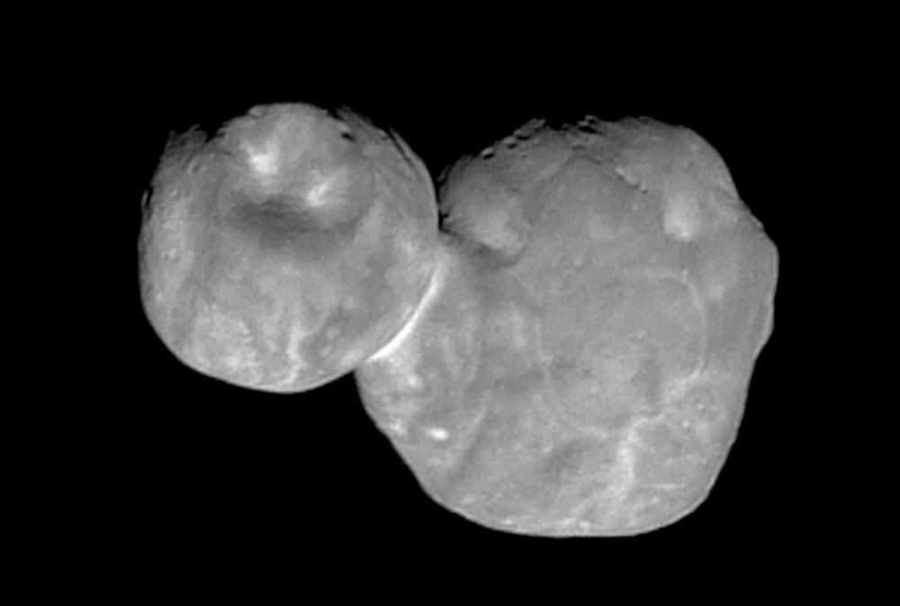 This photo shows the Kuiper belt object originally called  Ultima Thule,  about 1 billion miles beyond Pluto, encountered by the New Horizons spacecraft in this photo made available by NASA on Jan. 1, 2019.