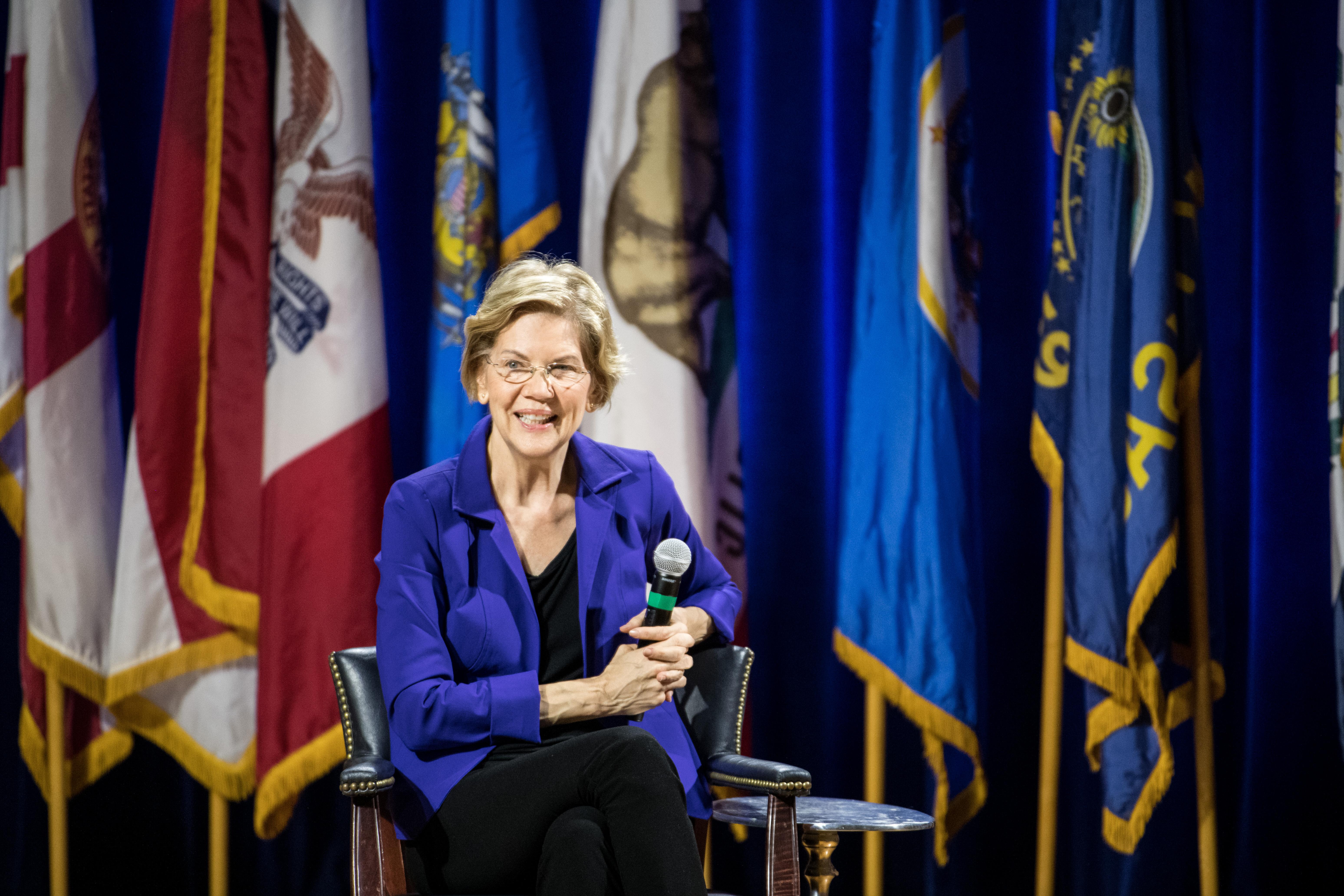 Democratic presidential candidate Sen. Elizabeth Warren (D-MA) addresses the audience at a South Carolina State University  event on Nov. 8, 2019 in Orangeburg, South Carolina.