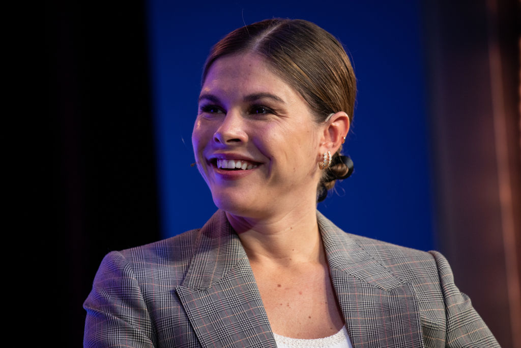 Emily Weiss, founder and chief executive officer of Glossier Inc., smiles during the Wall Street Journal Tech Live conference in Laguna Beach, California, U.S., on Tuesday, Oct. 22, 2019.