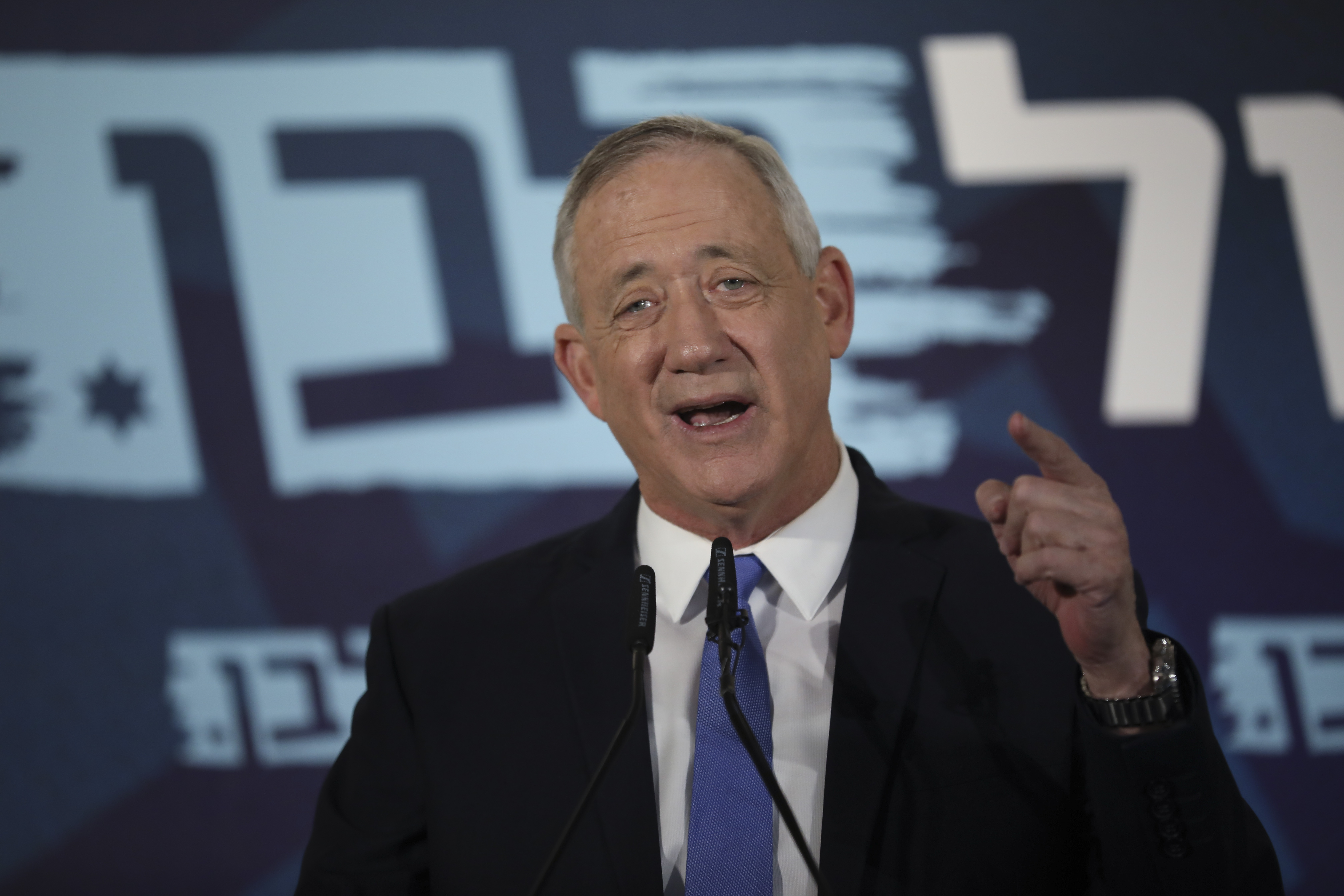 Blue and White party leader Benny Gantz addresses media in Tel Aviv,Israel. Wednesday, Nov. 20, 2019. Gantz has failed to form a new government by a deadline, dashing his hopes of toppling the long-time Israeli prime minister Netanyahu and pushing the country closer toward an unprecedented third election in less than a year.