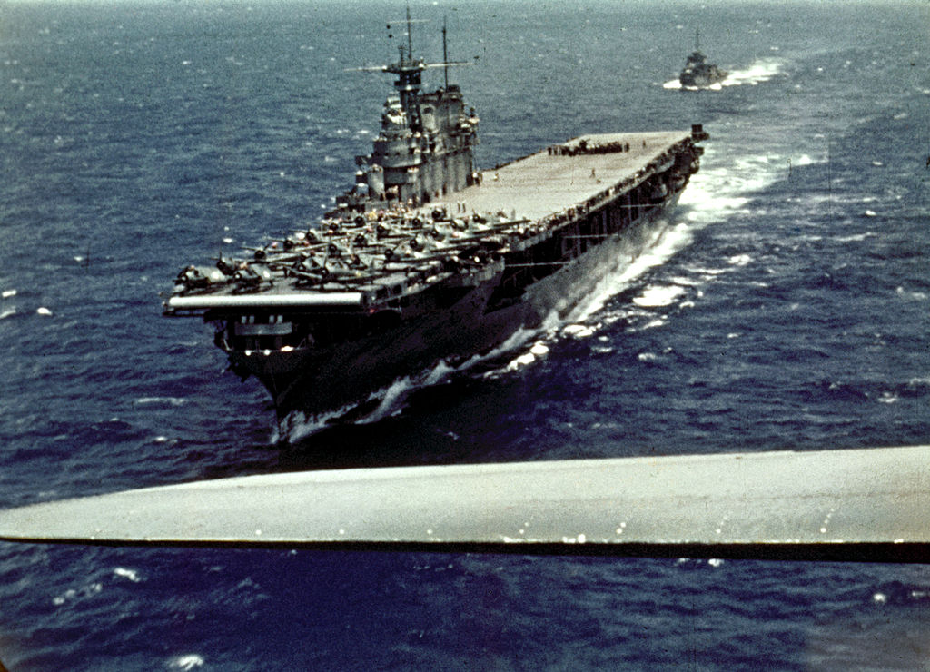 Film still shows a U.S. Navy, Yorktown-class aircraft carrier USS Enterprise during the Battle of Midway, from the John Ford-directed documentary The Battle of Midway.