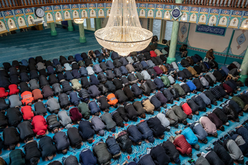 Men pray at the Suleymaniye Mosque in East London on March 1, 2019 in London, England
