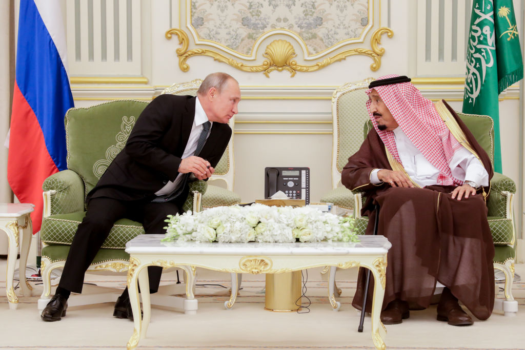 Russia's President Vladimir Putin and King Salman bin Abdulaziz Al Saud of Saudi Arabia at a ceremony to sign joint documents following Russian-Saudi talks at the Al-Yamamah Royal Palace in Riyadh, Saudi Arabia