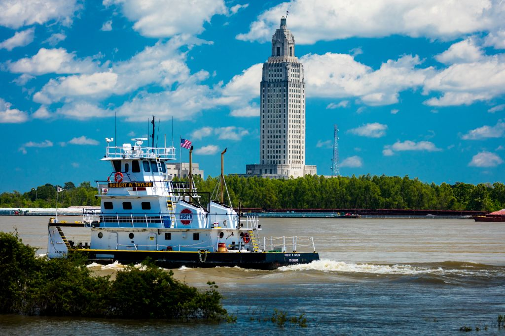 Baton Rouge, Louisiana Skyline and State Capitol on Mississippi River.
