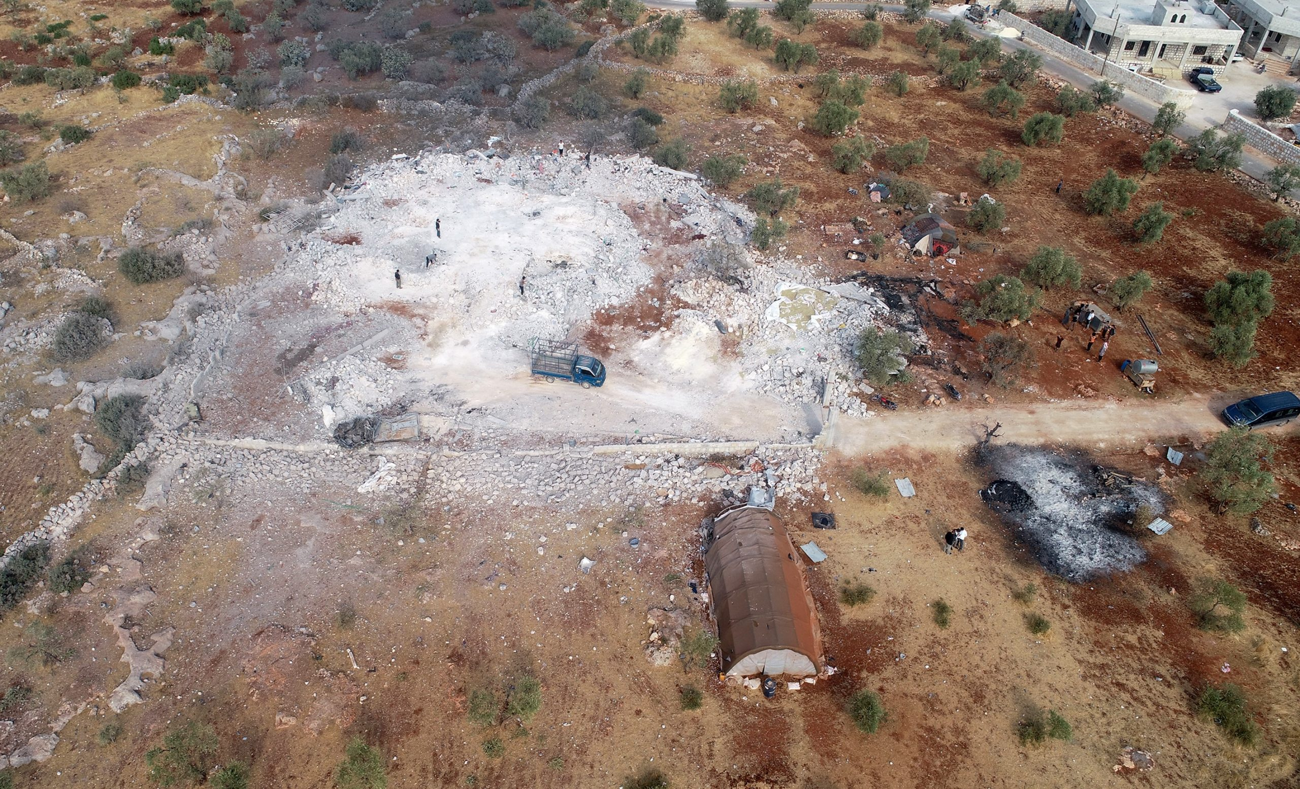 A drone photo shows an aerial view of operation area where ISIS leader Abu Bakr al-Baghdadi died on October 28, 2019 in Idlib, Syria .