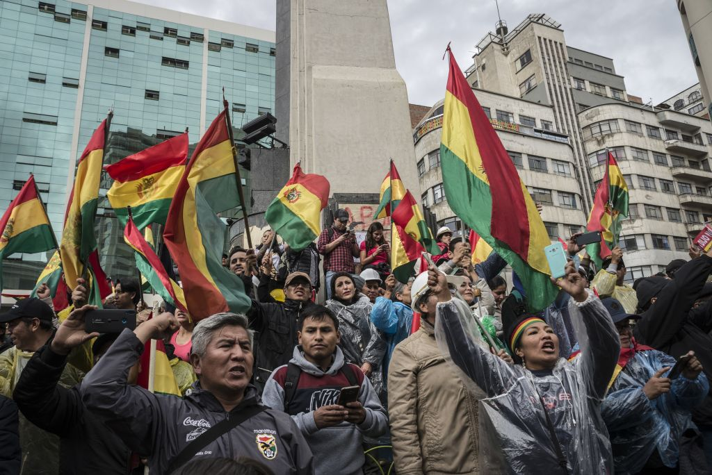 Thousands of people from the opposition celebrate after President of Bolivia Evo Morales announced his resignation in La Paz, Bolivia on November 10, 2019.