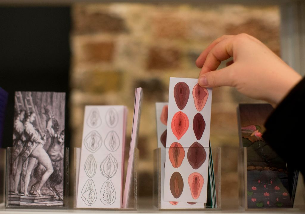 Bookmarks on sale during the press preview of the new Vagina Museum in Camden market, north London on November 14, 2019.