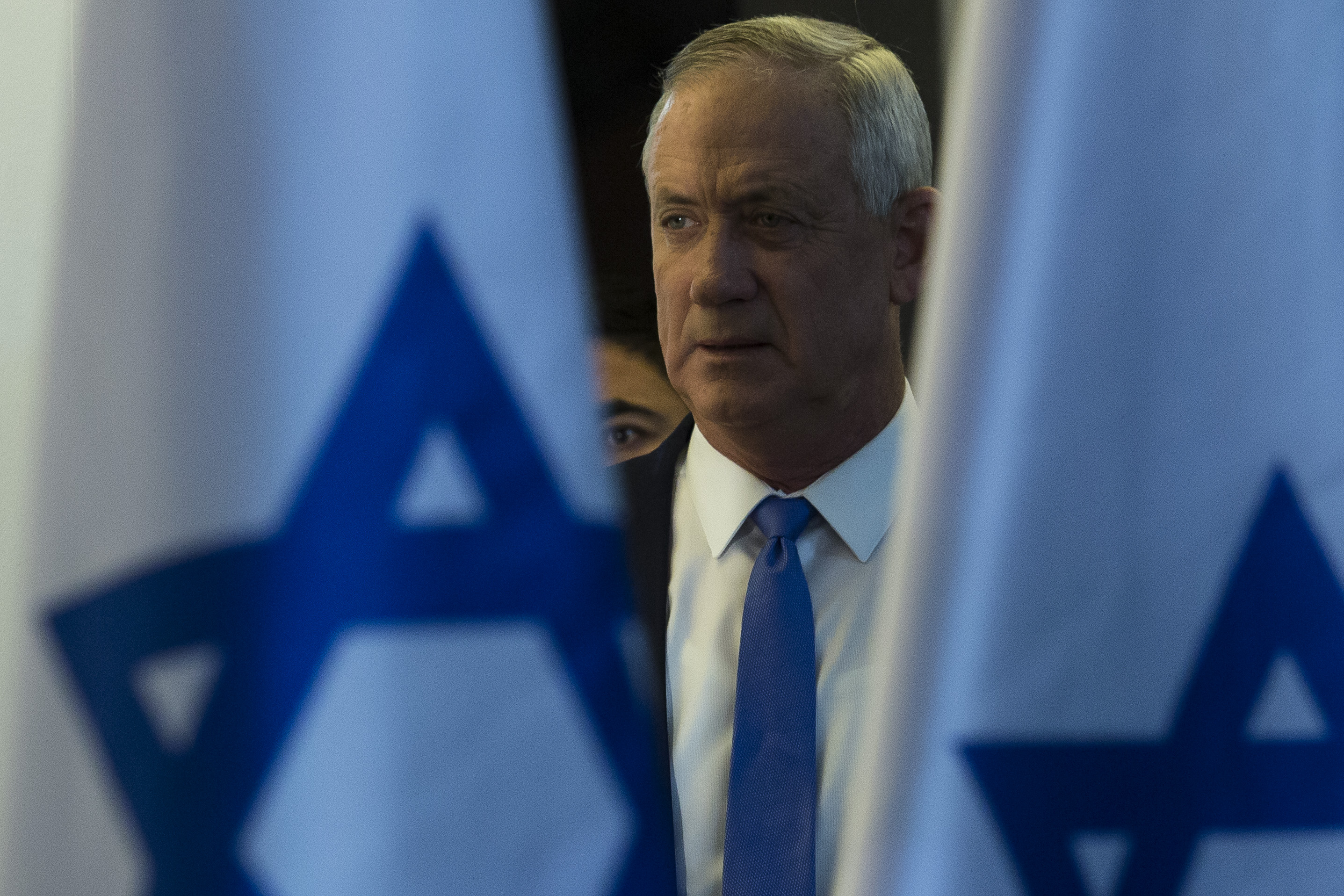 Benny Gantz, Blue and White party leader attends a press conference after failing to form a goverment on November 20, 2019 in Tel Aviv, Israel.
