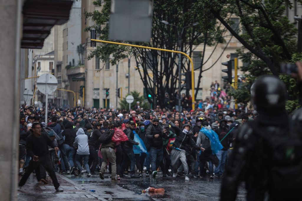 Thousands of protesters are seen streamed into the central Bolivar Square in clashes with security forces in Bogota, Colombia on Nov. 21, 2019.