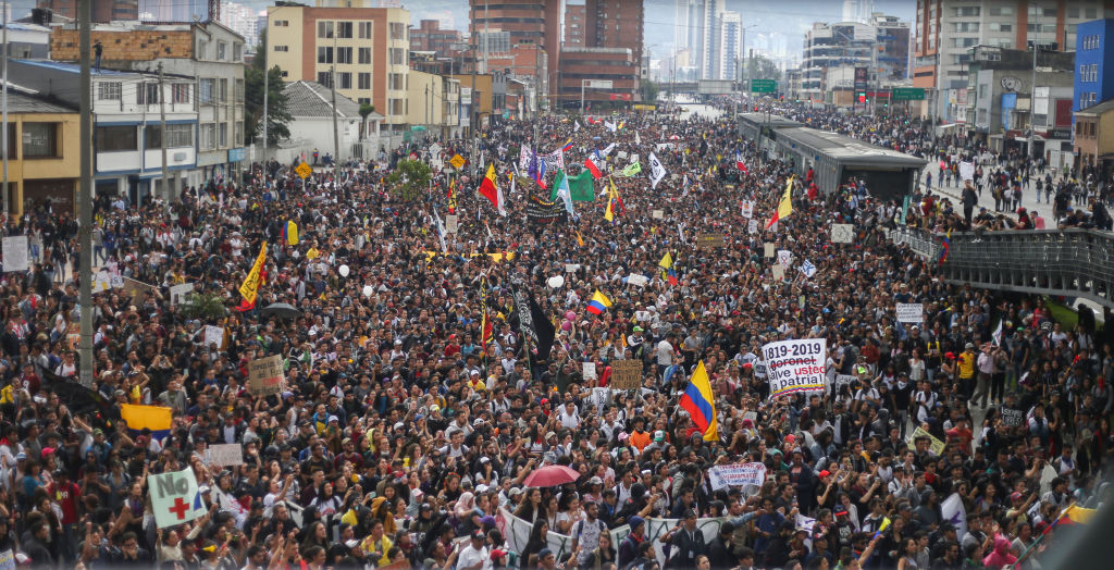 Thousands of protesters in the city of Bogota, Colombia, on 21 Nov. 2019.