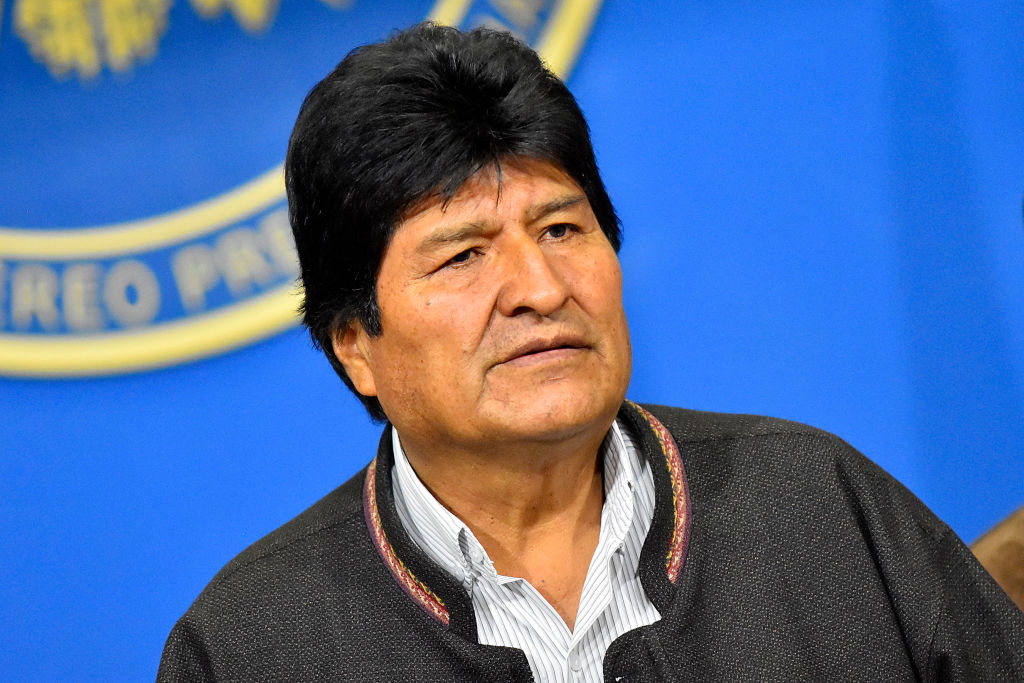 President of Bolivia Evo Morales Ayma speaks at press conference on November 10, 2019 in La Paz, Bolivia.