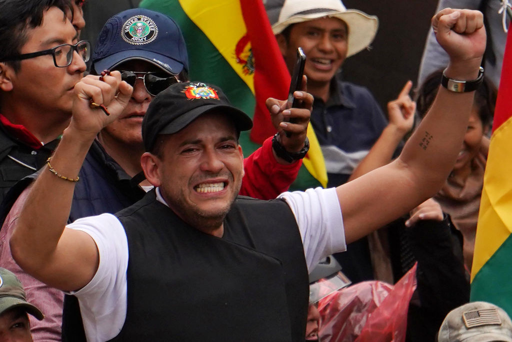 Luis Fernando Camacho, right wing opposition leader and president of the Civic Committee Pro Santa Cruz after entering the  former government house Palacio Quemado to hand a pre-written document where he requests the resignation of Evo Morales Ayma on November 10, 2019 in La Paz, Bolivia.