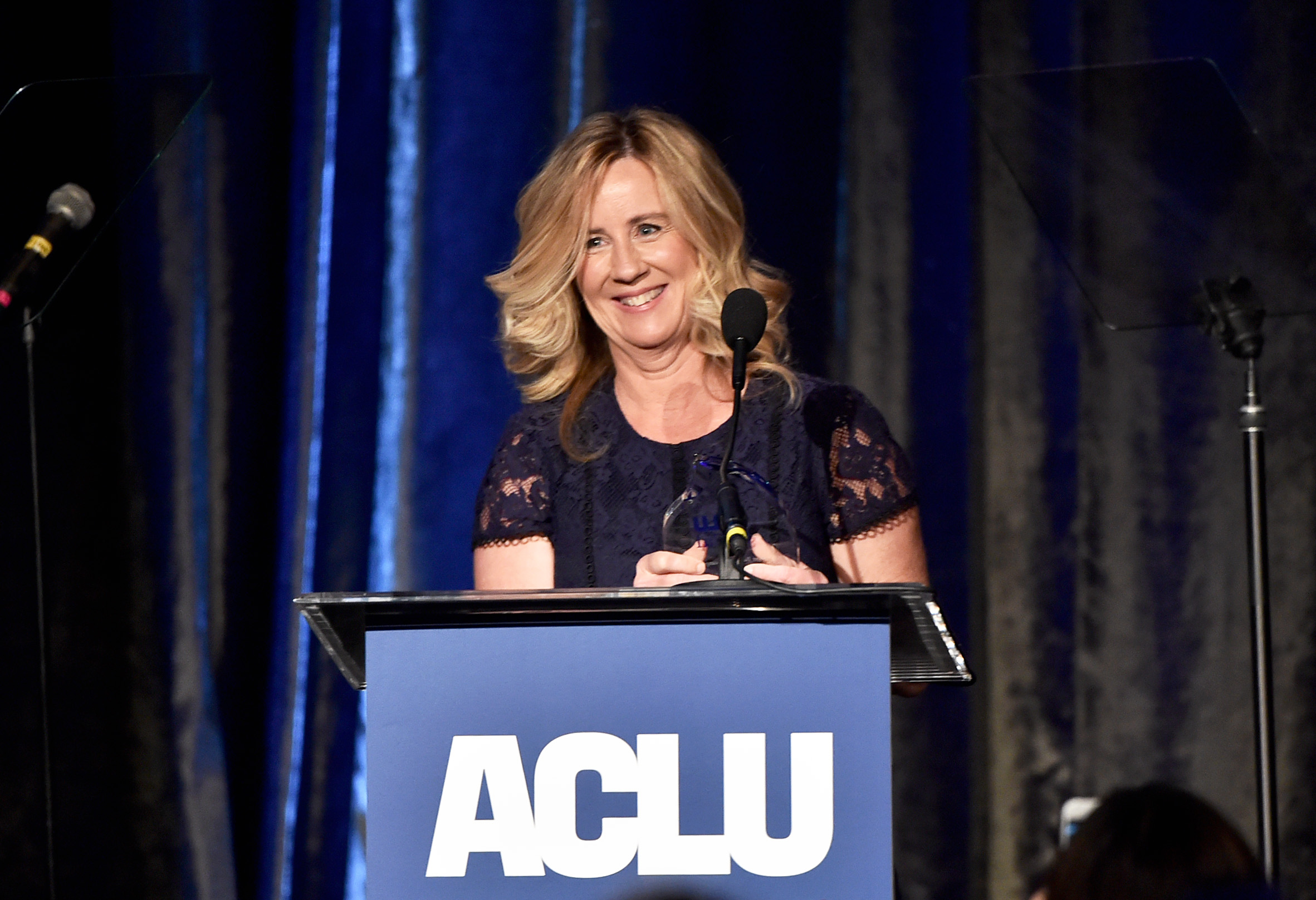 BEVERLY HILLS, CALIFORNIA - NOVEMBER 17: Dr. Christine Blasey Ford speaks onstage during ACLU SoCal's Annual Bill of Rights dinner at the Beverly Wilshire Four Seasons Hotel on November 17, 2019 in Beverly Hills, California.