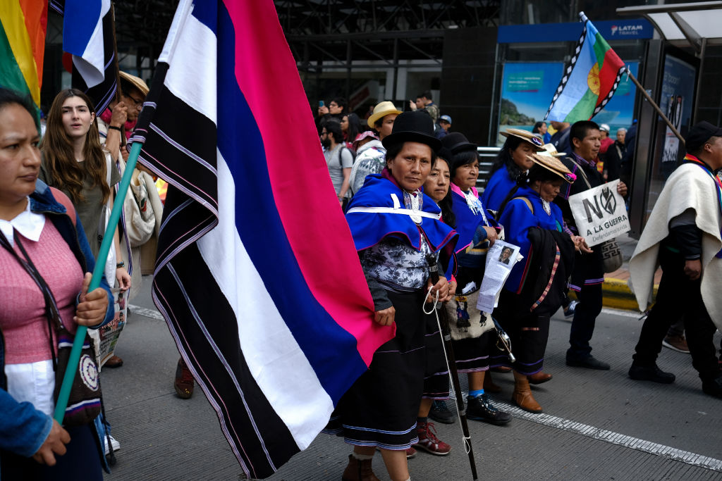 Members of Indigenous communities protest during a national strike on Nov. 21, 2019 in Bogota, Colombia.
