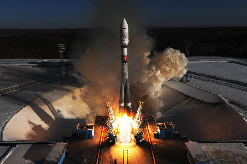A Soyuz 2.1a rocket booster with a Frigate upper stage block launched from the Vostochny Cosmodrome in Russia's Amur region, February 1, 2018.