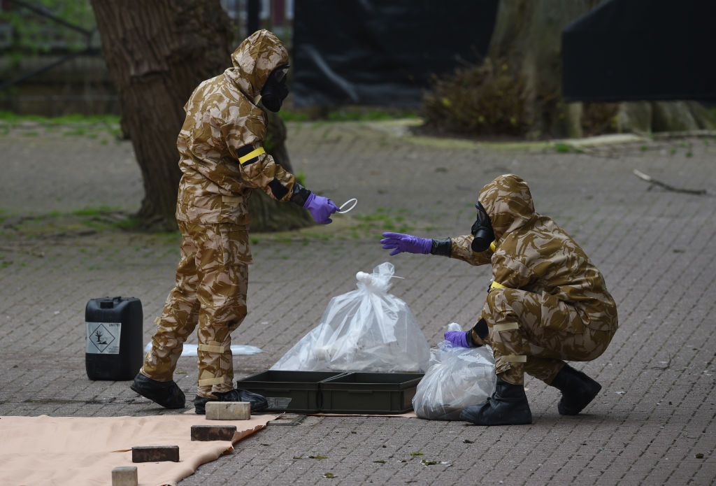Military personnel at the site near the Maltings in Salisbury on April 24, 2018, where Russian double agent Sergei Skripal and his daughter Yulia were found on a park bench