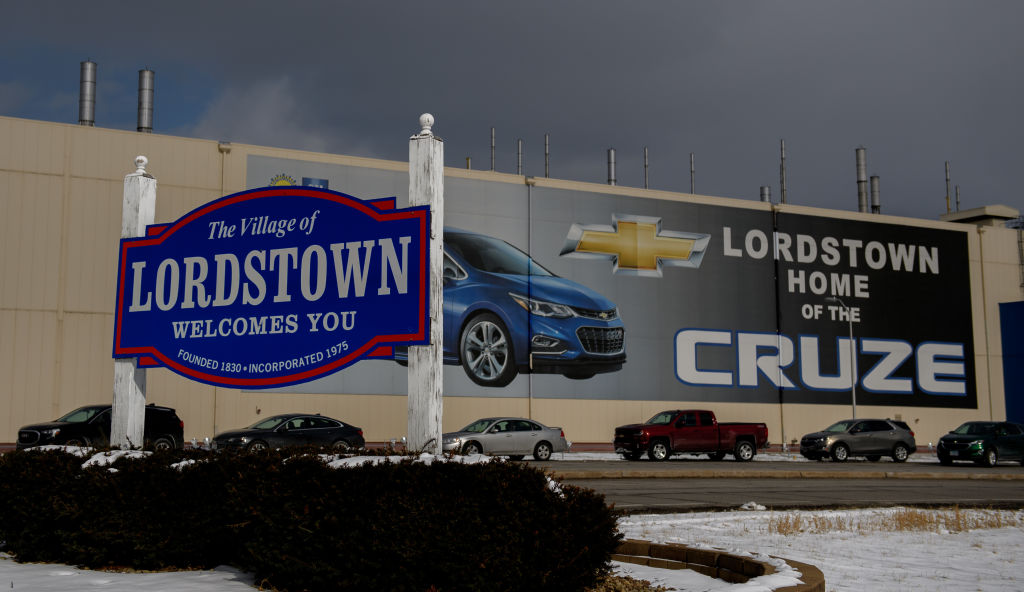 The GM Lordstown plant is shown on March 6, 2019 in Lordstown, Ohio.
