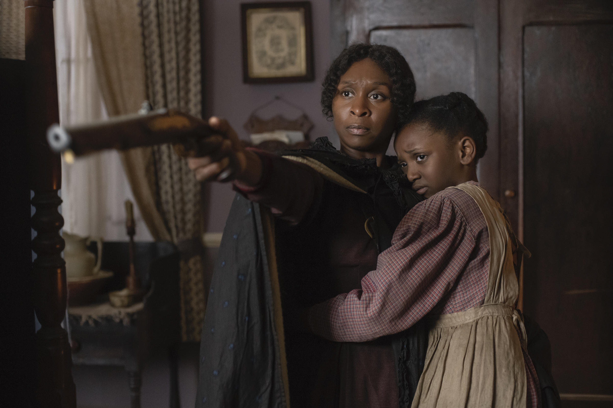 Cynthia Erivo stars as Harriet Tubman and Aria Brooks as Anger in HARRIET, a Focus Features release.