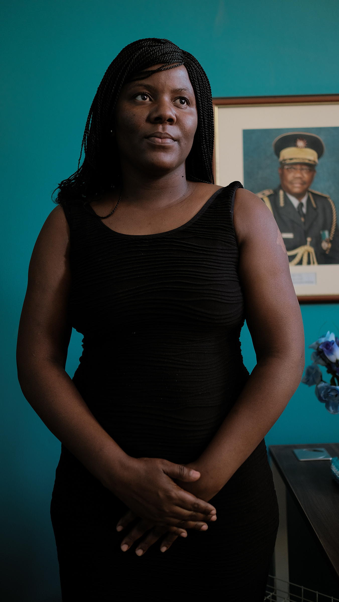 Sergeant Detective Rosaline from the Gender-based violence unit poses for a portrait in Windhoek, Namibia in the summer of 2019.