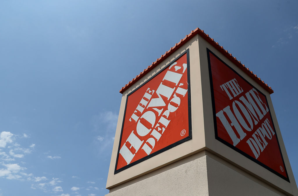 A sign is posted in front of a Home Depot store on August 14, 2018 in El Cerrito, California.