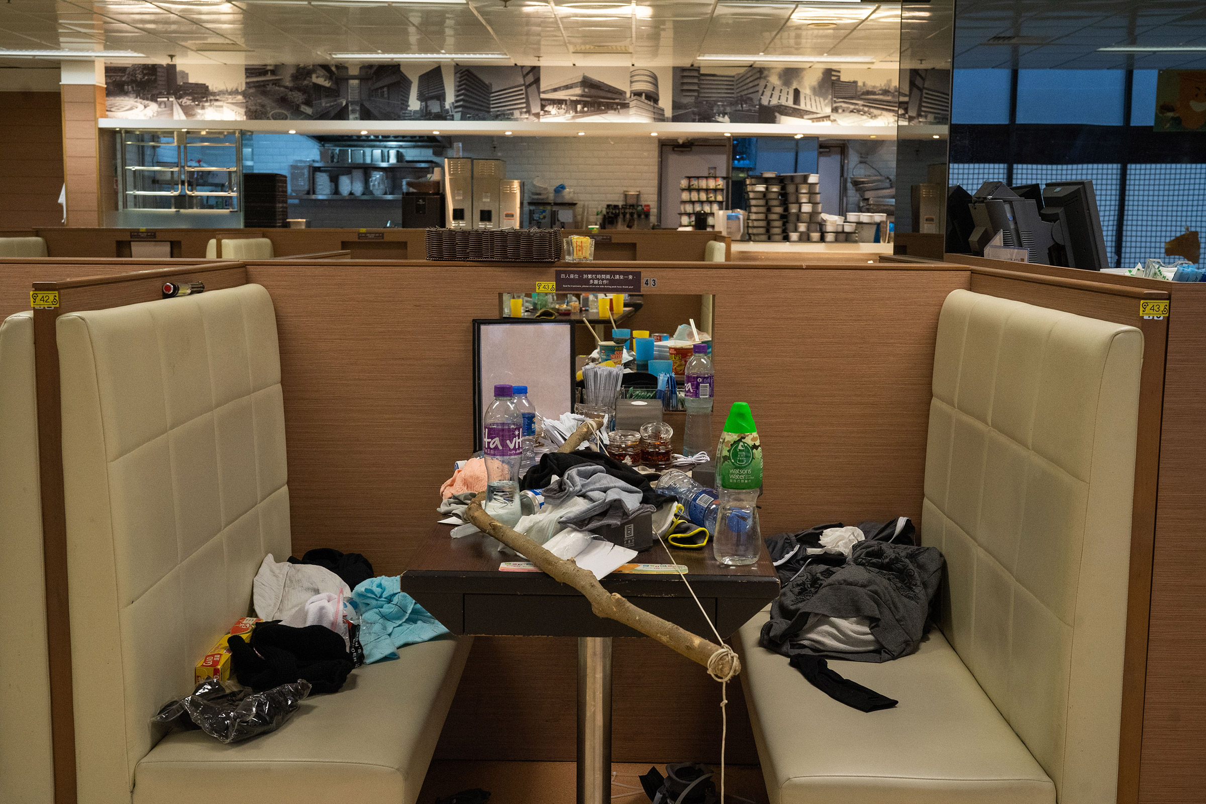 A canteen is seen inside PolyU after a three-day stand off between protesters and police, Nov. 19.