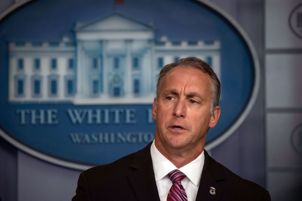 Immigration and Customs Enforcement (ICE) Acting Director Matt Albence speaks during a briefing at the White House in Washington, DC, on October 10, 2019. (Photo by NICHOLAS KAMM / AFP) (Photo by NICHOLAS KAMM/AFP via Getty Images)