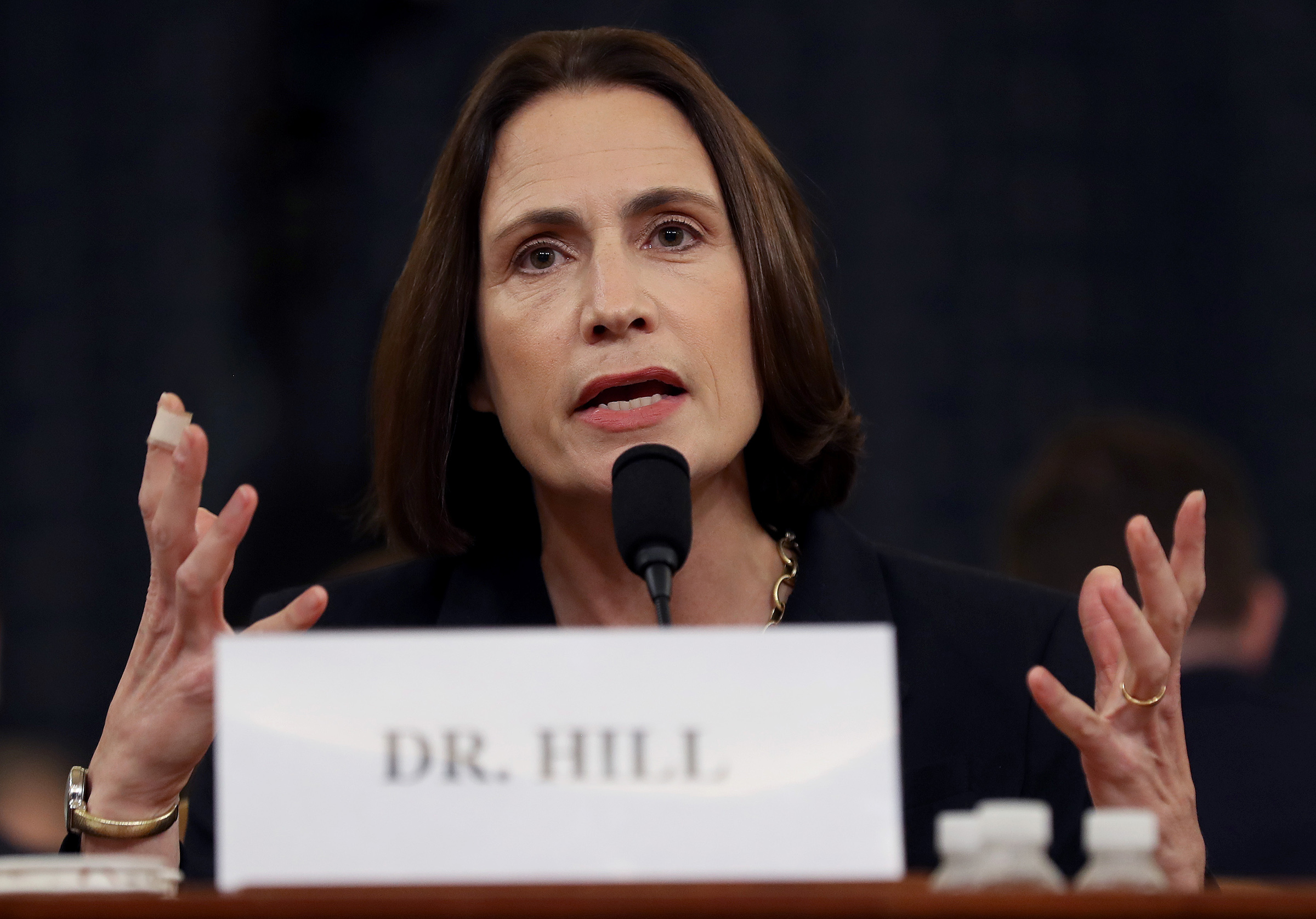 Fiona Hill, the National Security Council's former senior director for Europe and Russia testifies before the House Intelligence Committee on Capitol Hill on Nov. 21, 2019 in Washington, DC.