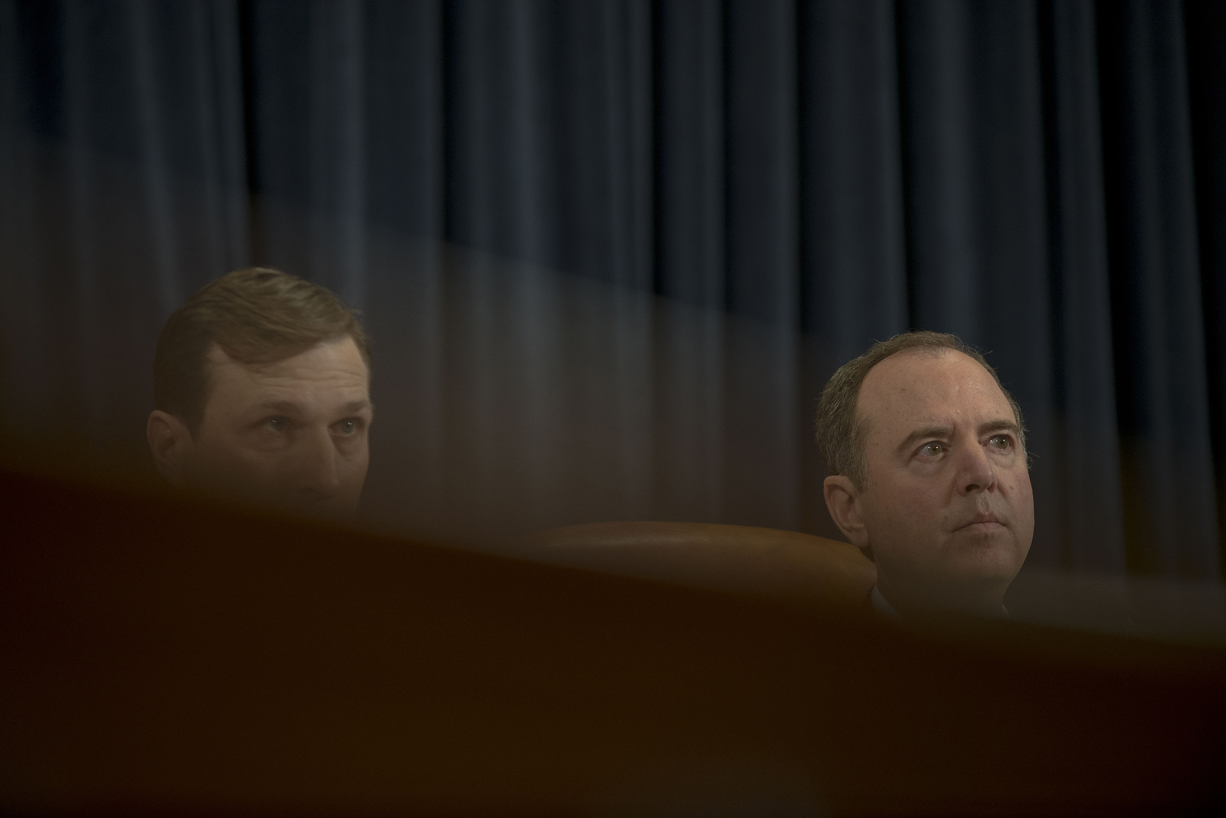 Chairman Adam Schiff (D-Calif.) and Democratic counsel Daniel Goldman listen to Ambassador Gordon Sondland testify during the House Intelligence Committee hearing on the impeachment inquiry on Capitol Hill in Washington, D.C. on Nov. 20, 2019.