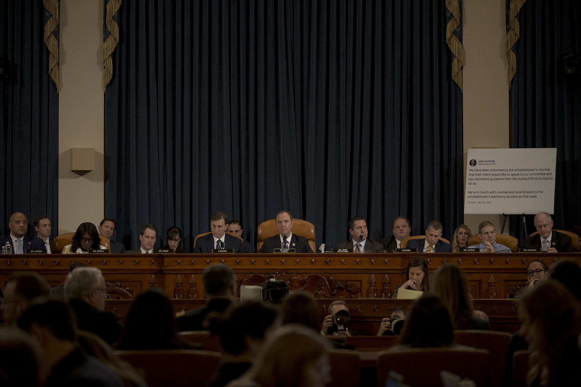 The House Intelligence Committee listens to testimony from witnesses Jennifer Williams, State Department official at the vice president's office, and Lt. Col. Alexander Vindeman, National Security Council staffer, during a hearing on the impeachment inquiry on Capitol Hill in Washington, D.C. on Nov. 19, 2019.