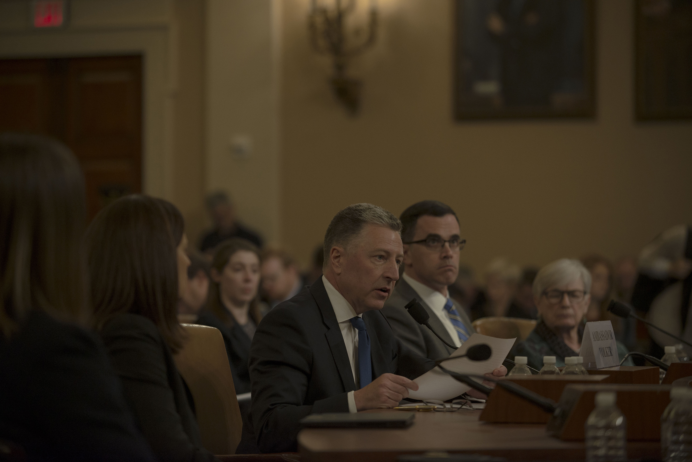 Witnesses Ambassador Kurt Volker and Tim Morrison testify during the House Intelligence Committee hearing on the impeachment inquiry on Capitol Hill in Washington, D.C. on Nov. 19, 2019.