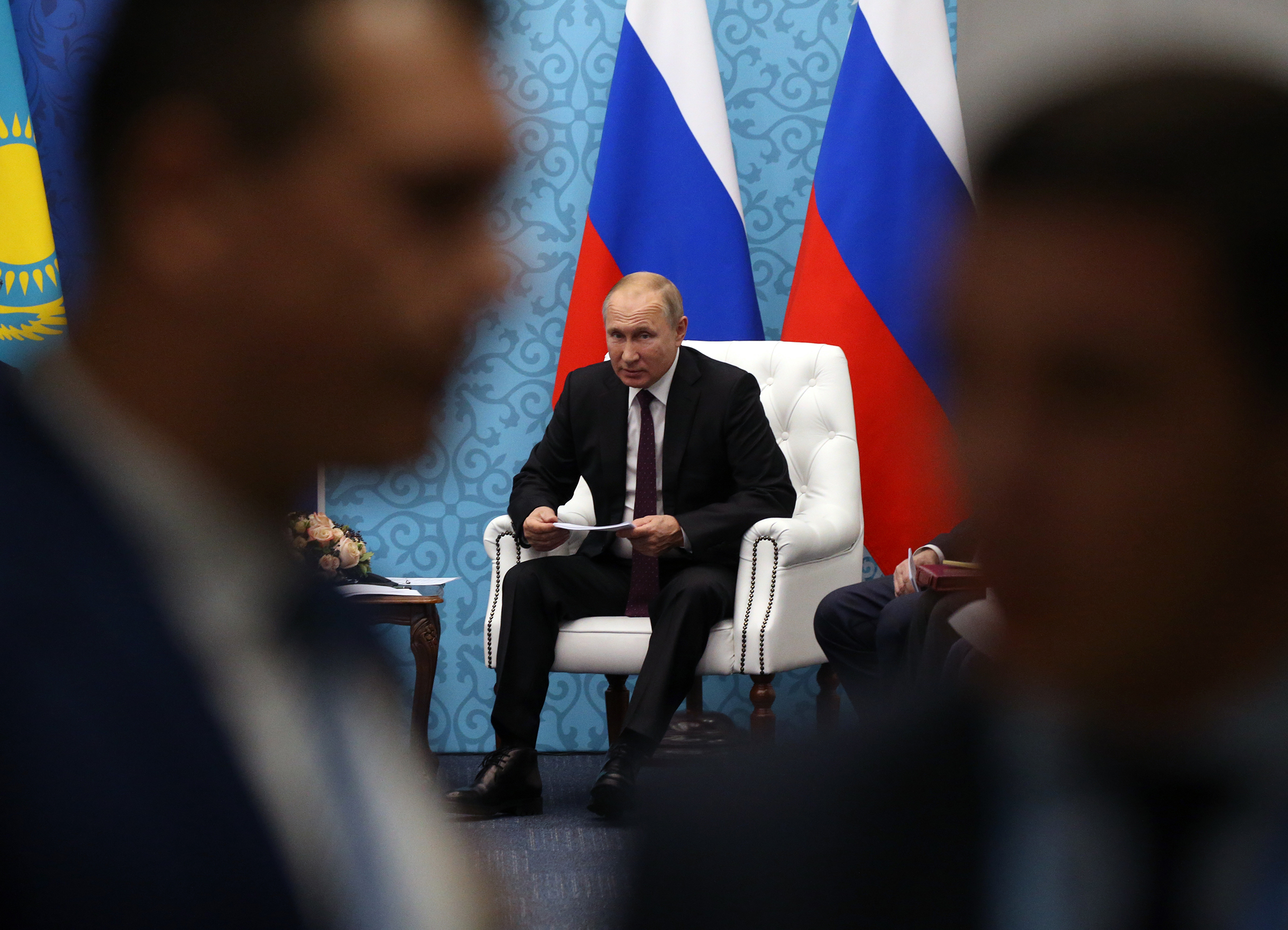 Russian President Vladimir Putin attends a bilaterlal meeting at the Russian-Kazakh Regional Forum on in Omsk, Russia on Nov. 7, 2019.