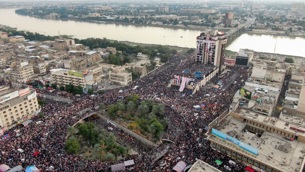 An aerial view shows Iraqi protesters gathering at Baghdad's Tahrir square on Nov. 2, 2019.
