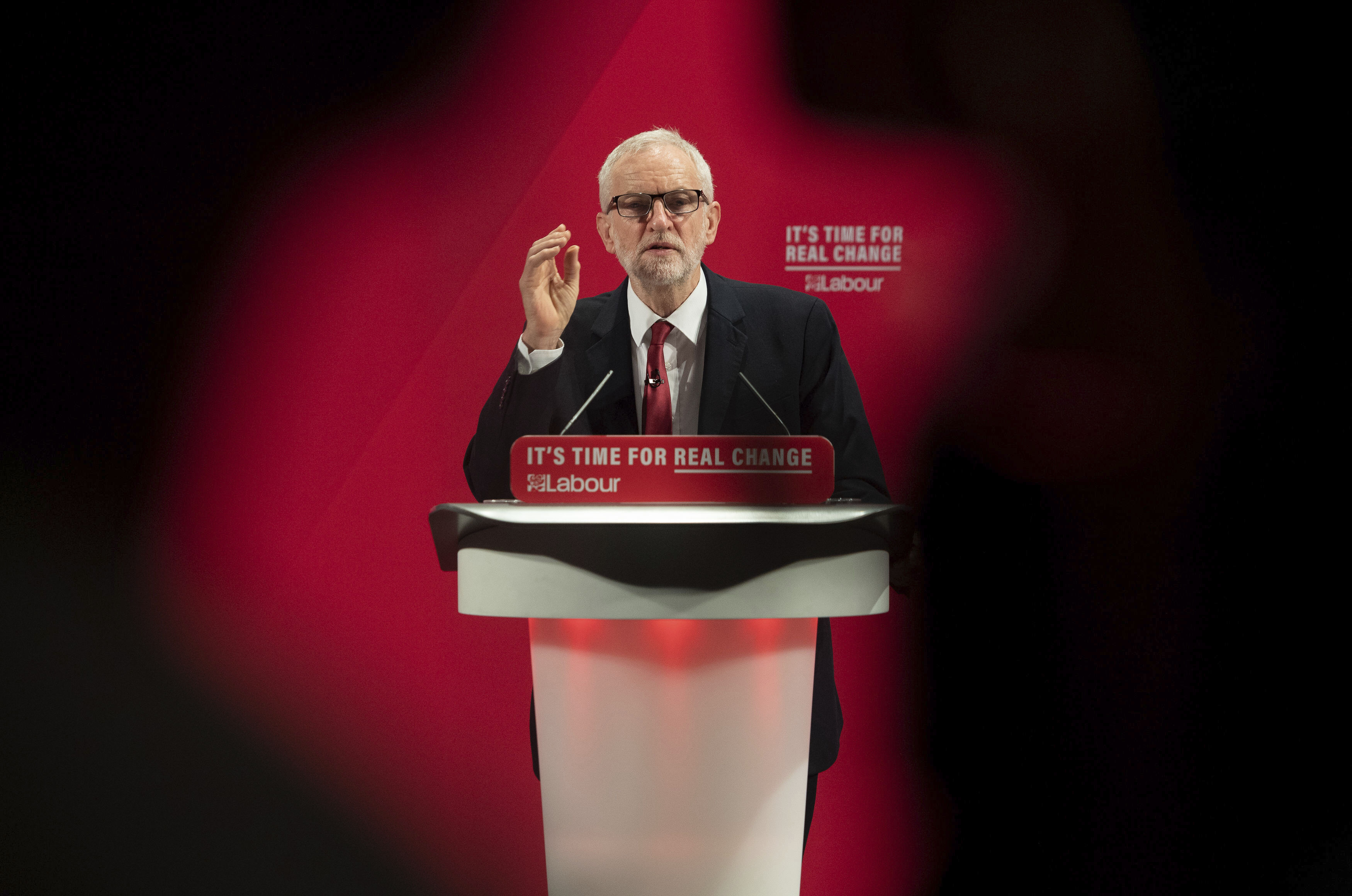 Britain's main opposition Labour Party leader Jeremy Corbyn speaks at the launch of the Labour Party race and faith manifesto, in London, on Nov. 26, 2019.