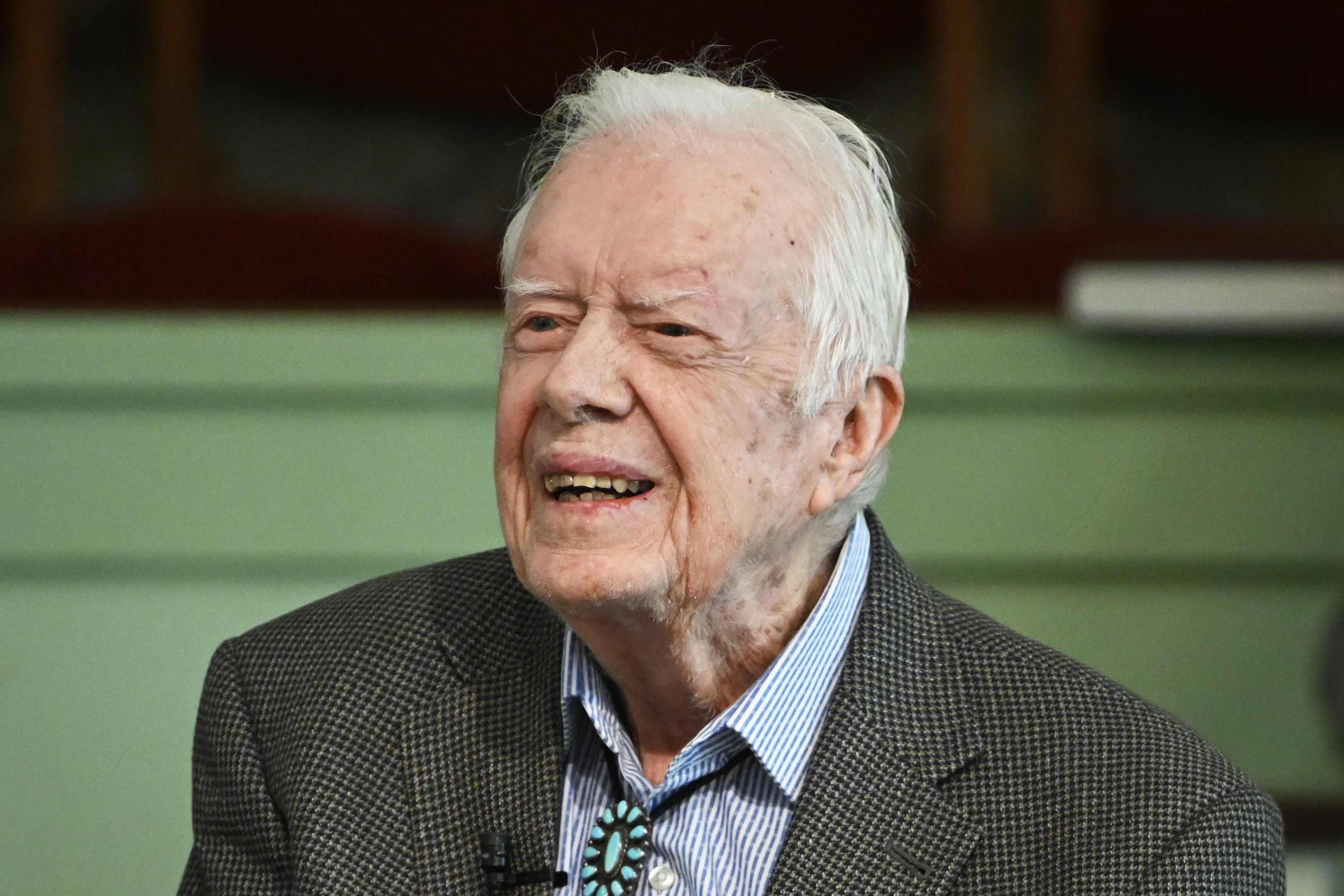 In this Nov. 3, 2019 file photo, former President Jimmy Carter teaches Sunday school at Maranatha Baptist Church in Plains, Ga.