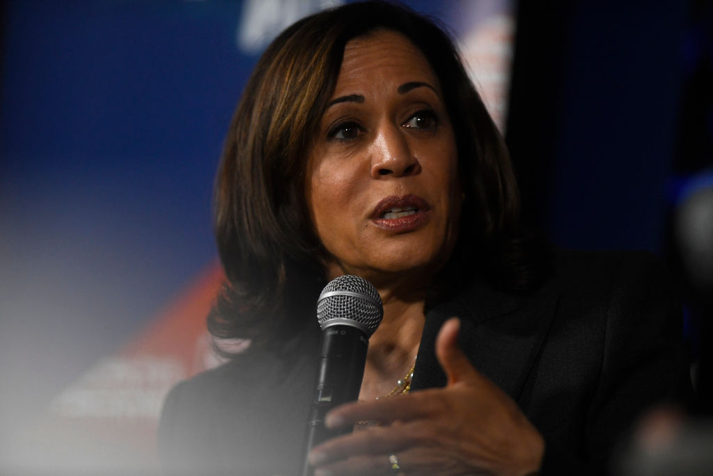 Democratic presidential candidate, U.S. Sen. Kamala Harris (D-CA) speaks during a town hall at the Eastern State Penitentiary on October 28, 2019 in Philadelphia, Pennsylvania.