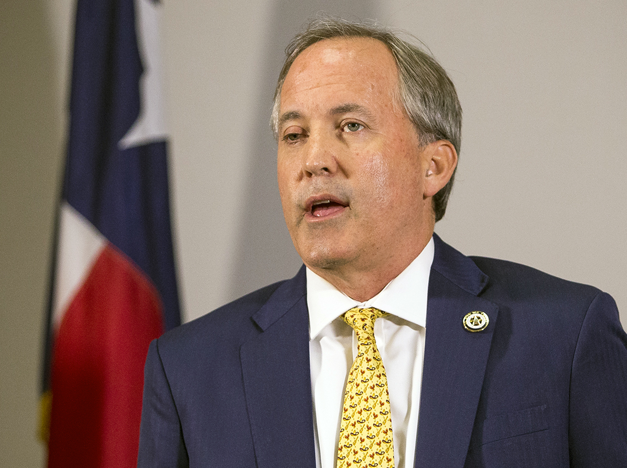 In this May 1, 2018, file photo, Texas Attorney General Ken Paxton speaks at a news conference in Austin, Texas.