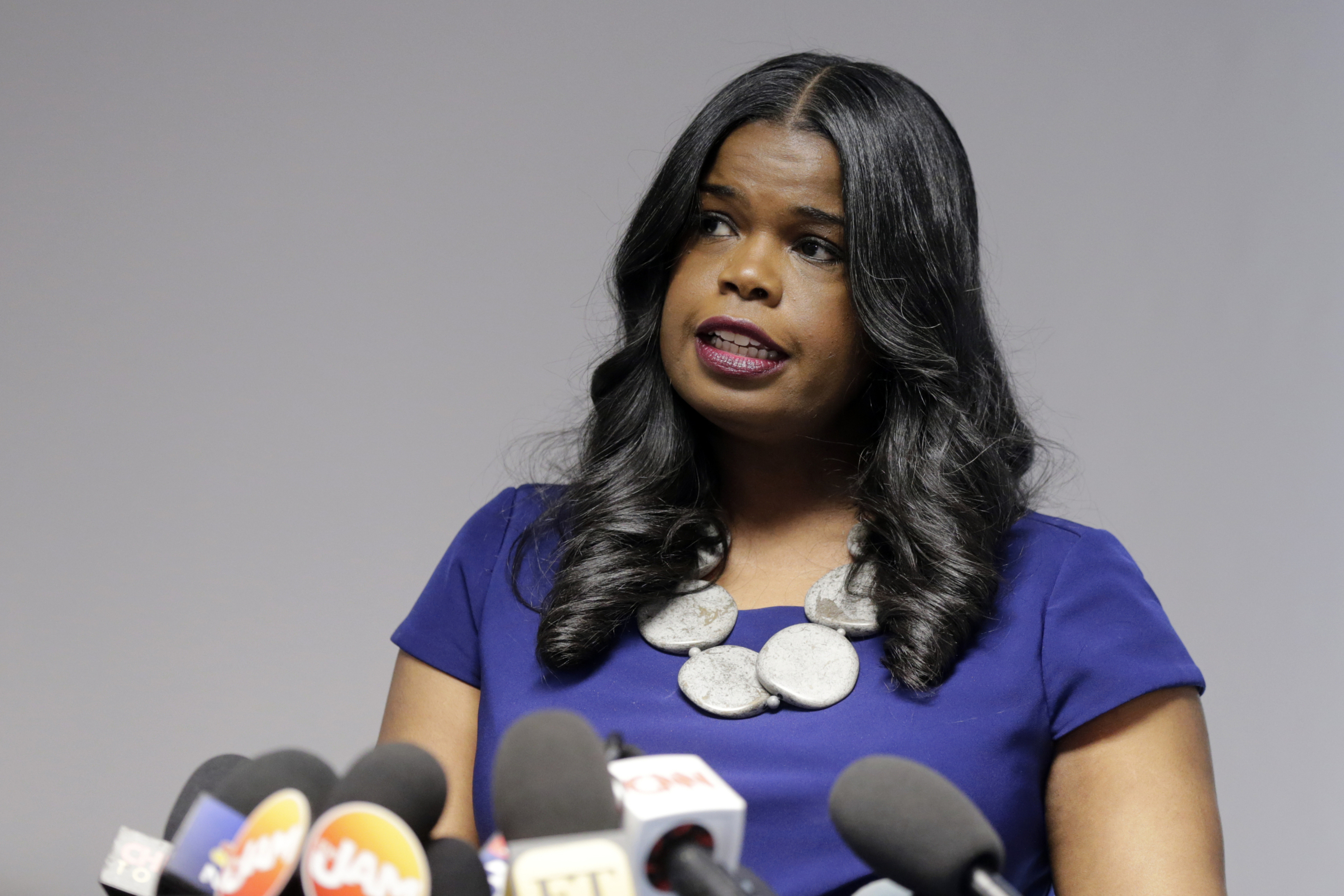 In this Feb. 22, 2019 file photo, Cook County State's Attorney Kim Foxx speaks at a news conference, in Chicago. Foxx who was harshly criticized when her office suddenly dropped charges against actor Jussie Smollett, says Tuesday, Nov. 19, 2019 that she's running for re-election.