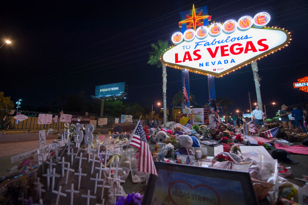 The area near The Fabulous Las Vegas Sign has become the memorial for the victims after the mass shooting in Las Vegas, Nevada, that initially took 58 lives, October 28, 2017.
