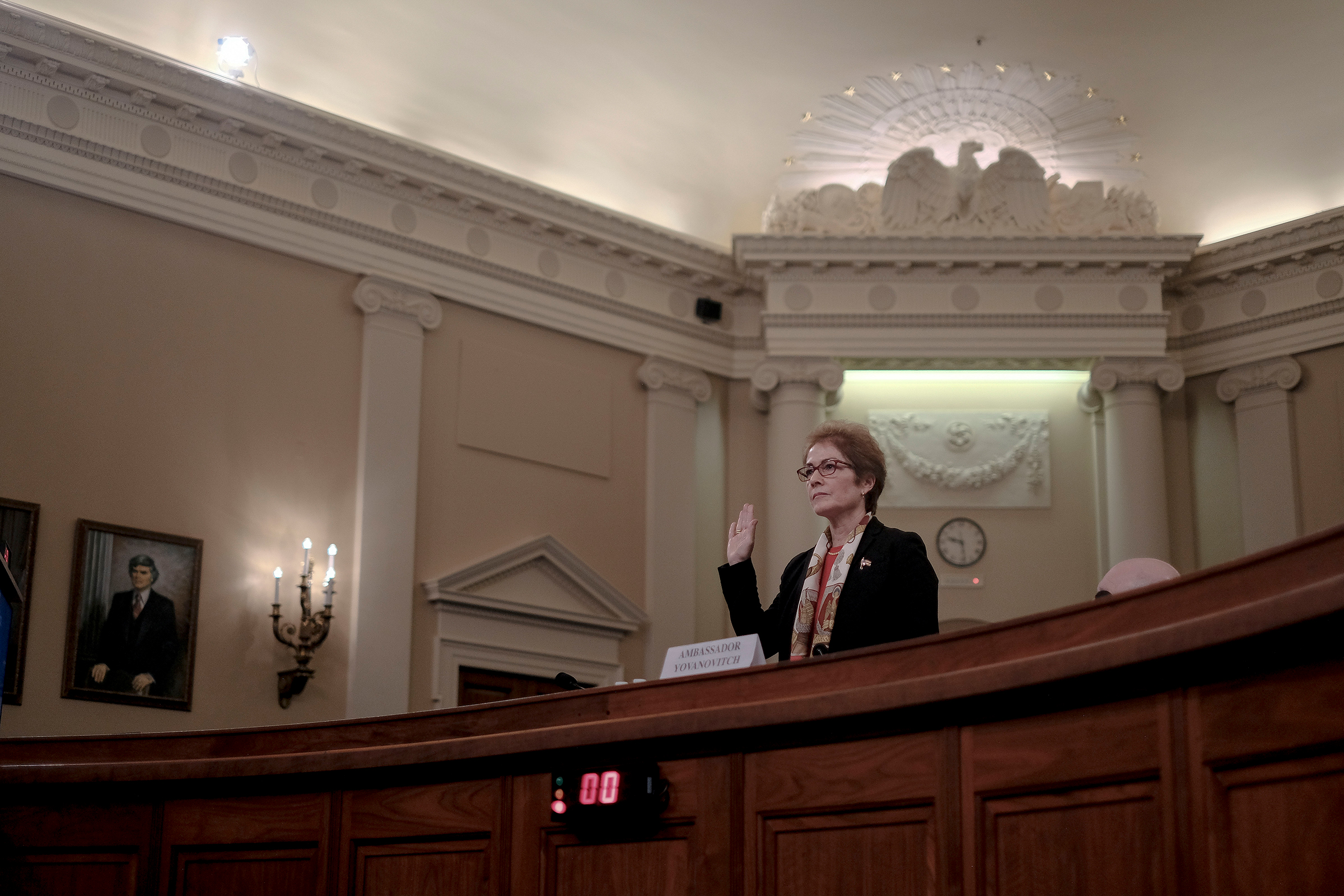 Marie Yovanovitch, the former ambassador to Ukraine, is sworn in during a House Intelligence Committee hearing on the impeachment inquiry in Washington, D.C., on Nov. 15, 2019.