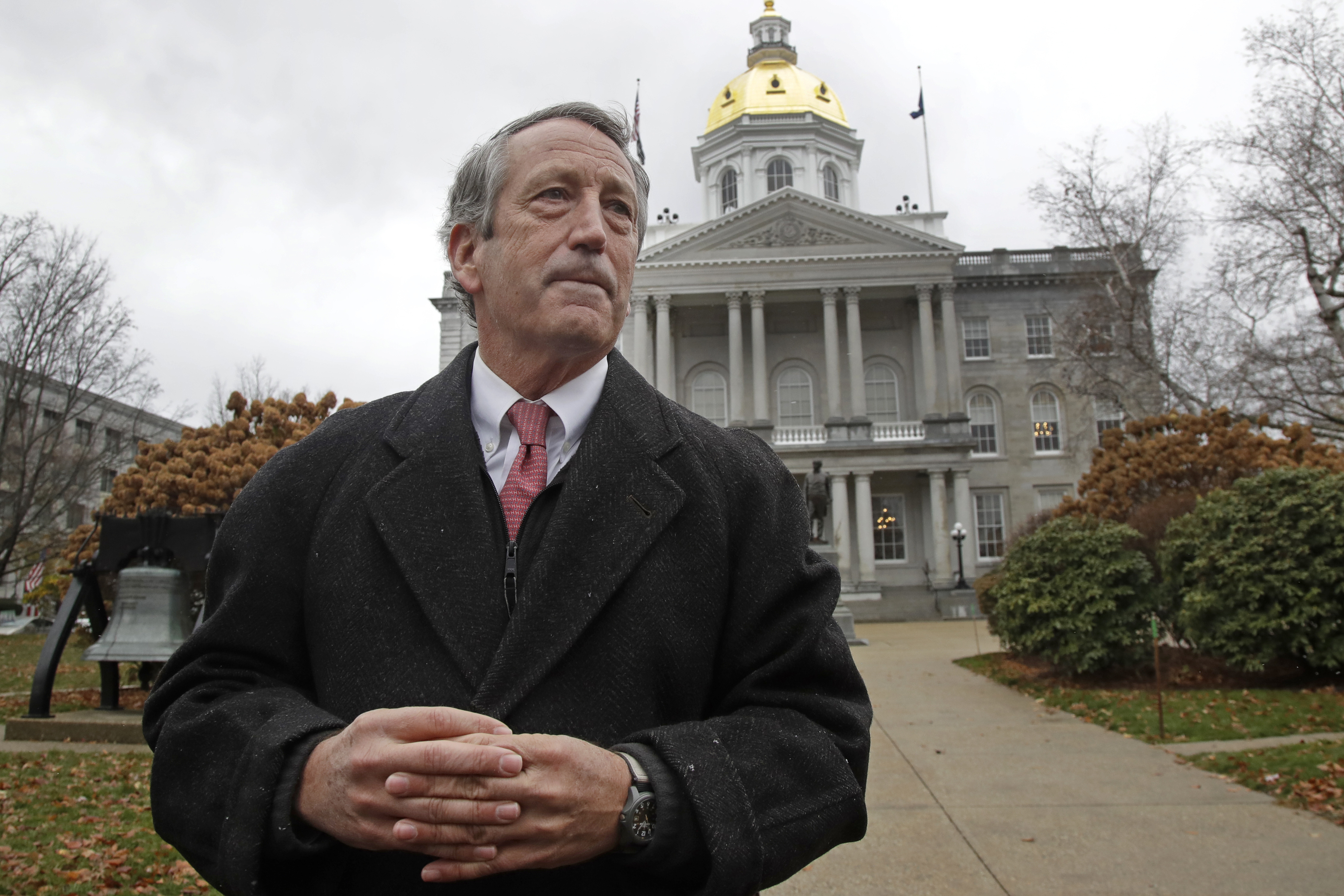 Republican presidential candidate former South Carolina Gov. Mark Sanford speaks during a news conference in front of the Statehouse, Tuesday, Nov. 12, 2019, in Concord, N.H., where he announced he is ending his long shot 2020 presidential bid.