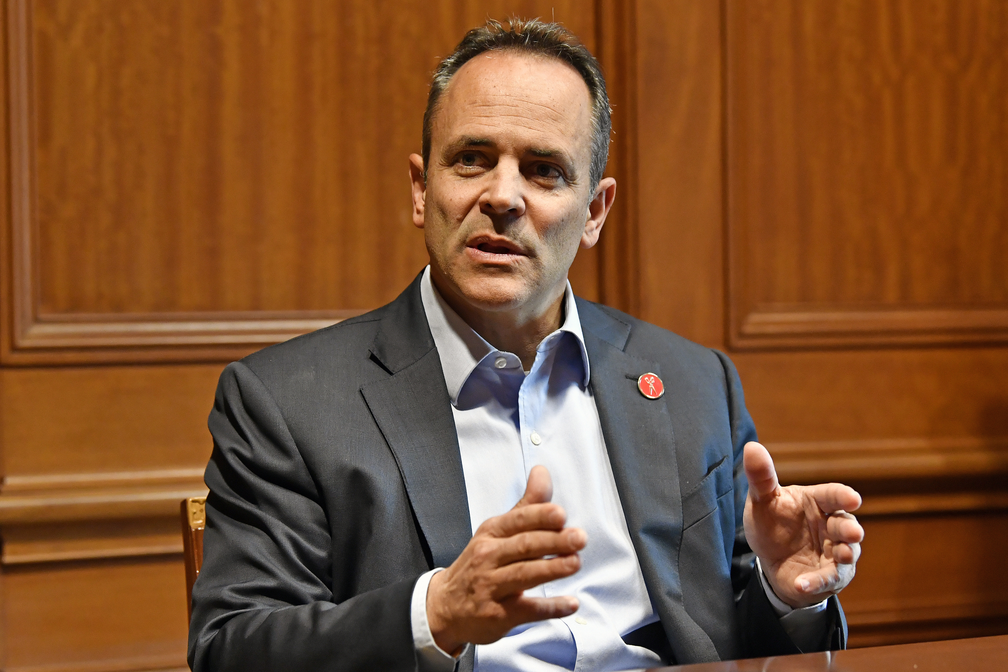 Kentucky Governor Matt Bevin discusses the upcoming recanvass of the Governor's race in Frankfort, Ky., Wednesday, Nov. 13, 2019.