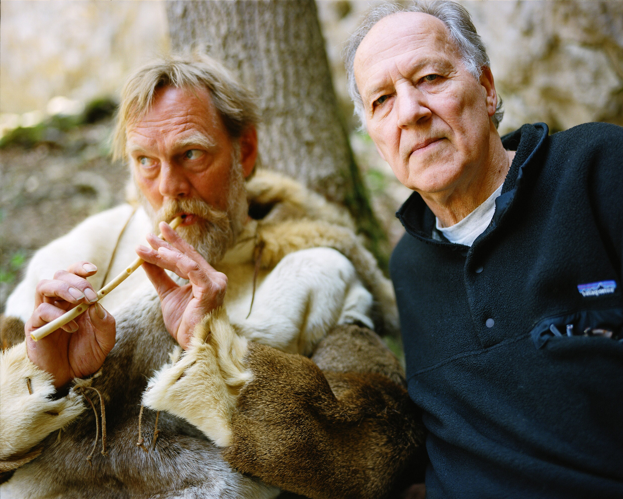 W. Hein and director Werner Herzog on the set of Cave of Forgotten Dreams.