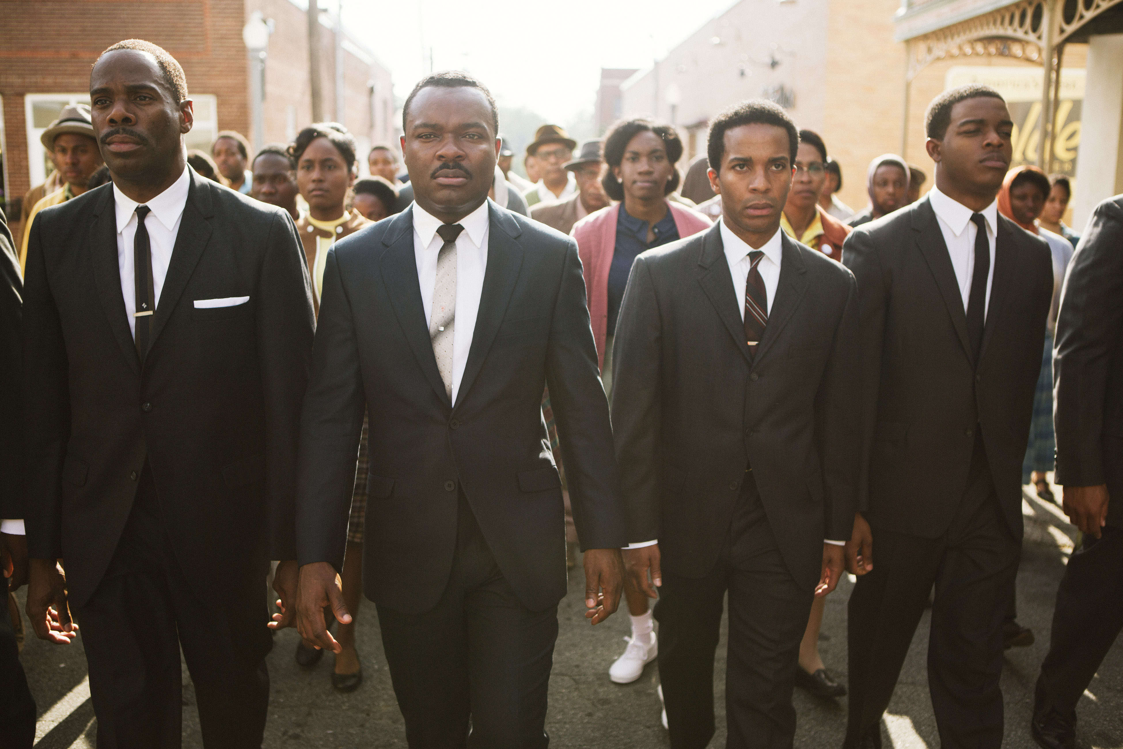 David Oyelowo (center), as Martin Luther King Jr., in Selma.